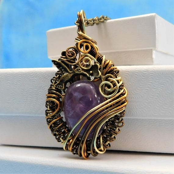 Unique Woven Wire Wrapped Amethyst Pendant, Artistic February Birthstone Necklace, Artisan Crafted One of a Kind Handmade Gemstone Jewelry