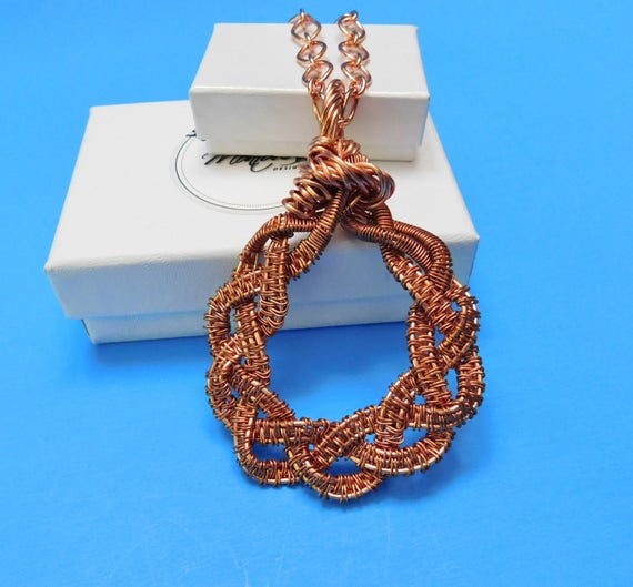 Woven Copper Statement Necklace, Unique Wire Wrapped Pendant, Artistic Handmade Wearable Art Jewelry, One of a Kind Present Ideas for Women
