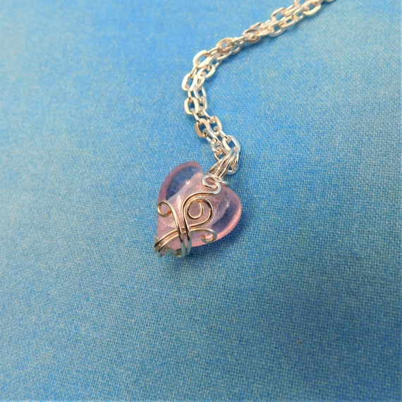 Pink Heart Necklace, Unique Artisan Crafted Wire Wrapped Pendant, Handmade Wearable Art Jewelry, Romantic Present for Wife or Girlfriend