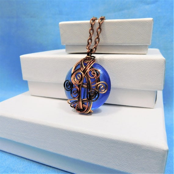 Boho Blue Glass Pendant, Artistic Copper Wire Wrapped Necklace, Artisan Crafted Wearable Art Jewelry Anniversary Present for Wife