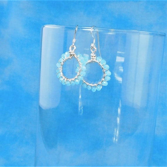 Small Blue Crystal Hoop Earrings, Unique Wire Wrapped Artistic Jewelry, Handcrafted Mother's Day Present Idea for Mom, Wife or Mother in Law
