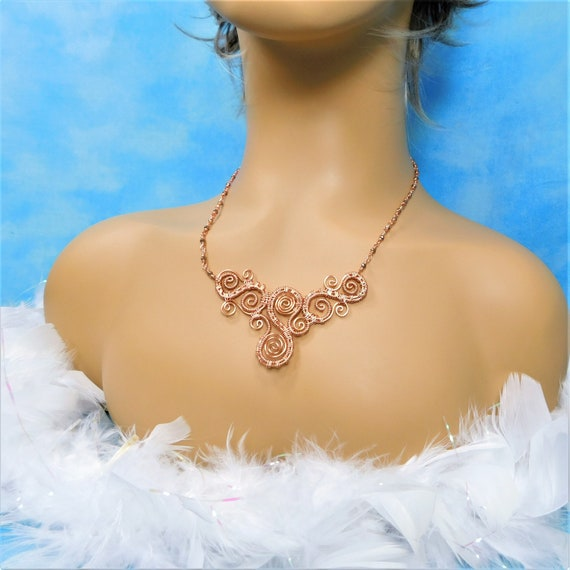 Sculpted and Woven Wire Scroll Work Bib Style Statement Necklace in Bright Copper / Rose Gold 7th Anniversary Gift for Wife or Girlfriend