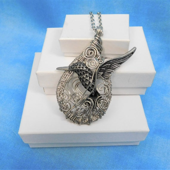Unique hummingbird jewelry Artistic Statement Necklace, Artisan Crafted Wire Wrapped Handmade Pendant, Bird Theme Jewelry Present for Mom
