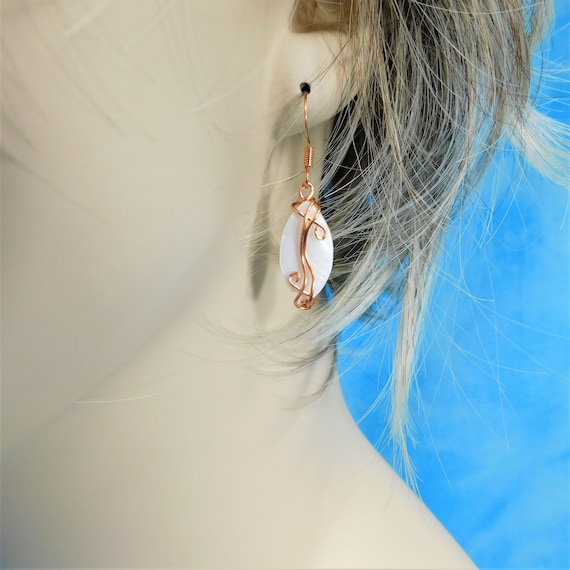 Small Artistic Copper Wire Wrapped Mother of Pearl Earrings, Unique Wearable Art Jewelry Present for Girlfriend, Wife, Mom, or Mother in Law