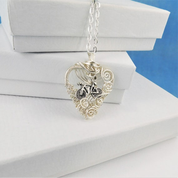 Unique Cycling Gifts,  Bicycle Jewelry for Wife, Handmade Heart Shaped Bike Pendant Christmas Present Ideas for Women, Mother in Law Gift