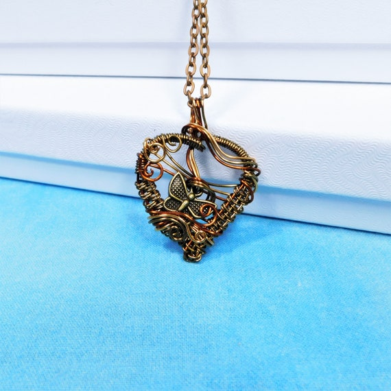 Artisan Crafted Copper Heart Butterfly Necklace, Unique Woven Wire Wrapped Artistic Pendant, Wearable Art Jewelry Present