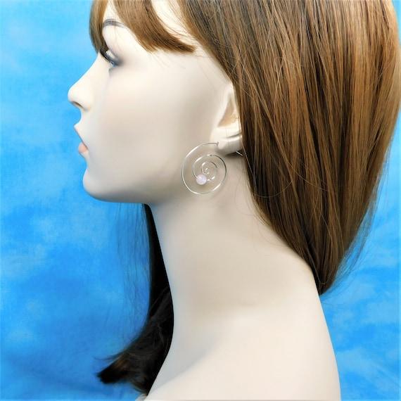 Sterling Silver Hoop Earrings with Gemstones, Rose Quartz Earrings Birthday Present or Anniversary Gift for Wife or Girlfriend