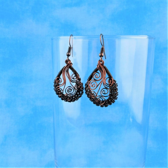 Woven Wire Wrapped Rustic Copper Earrings, Handmade Boho Jewelry, Unique Artisan Crafted Wearable Art, Artistic Present Ideas for Women