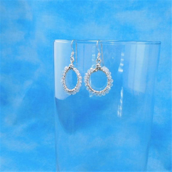 Small Hoop Earrings, Unique Wire Wrapped Artistic Jewelry, Handcrafted Mother's Day Present Ideas for Mom, Wife, Mother in Law Gift