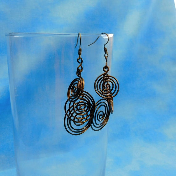 Boho Copper Spiral Earrings, Unique Wire Wrapped Wrapped Swirl Cluster Dangles, Handcrafted Wearable Art Jewelry Present Ideas for Women