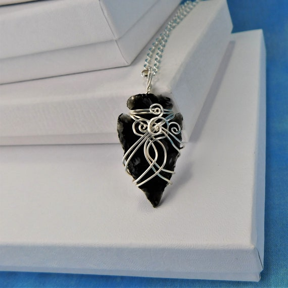 Arrowhead Necklace, Artisan Crafted Unique Wire Wrapped Black Obsidian Pendant,Handmade Wearable Art Jewelry, Artistic Present Ideas for Her