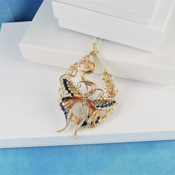 Butterfly Necklace, Artisan Crafted Unique Wire Wrapped Pendant, Artistic Handmade Jewelry, One of a Kind Wearable Art Bereavement Gift Idea