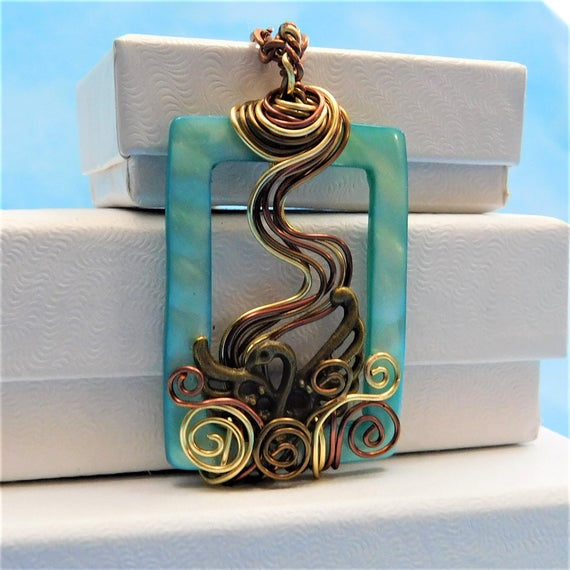 Swan Jewelry Unique Wire Wrapped Necklace Artistic Handmade Jewelry Artisan Crafted Pendant Anniversary Birthday Present Ideas for Women