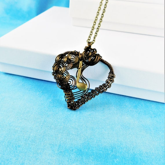 Music Note Necklace Gift for Musician or Teacher, Woven Wire Wrapped Heart Pendant, Wearable Art Jewelry Birthday Present for Musical Women