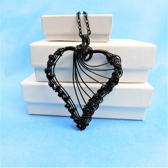 Black Woven Wire Heart Necklace, Artisan Crafted Wearable Art Pendant, Artistic Birthday Present or Romantic Anniversary Gift Idea for Women