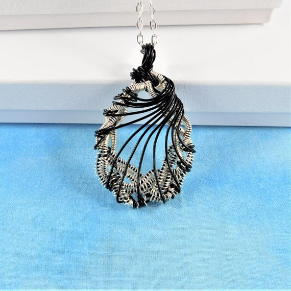 Woven Wire Statement Necklace, Unique Wire Wrapped Pendant, Artistic Handmade Wearable Art Jewelry, One of a Kind Present Ideas for Women