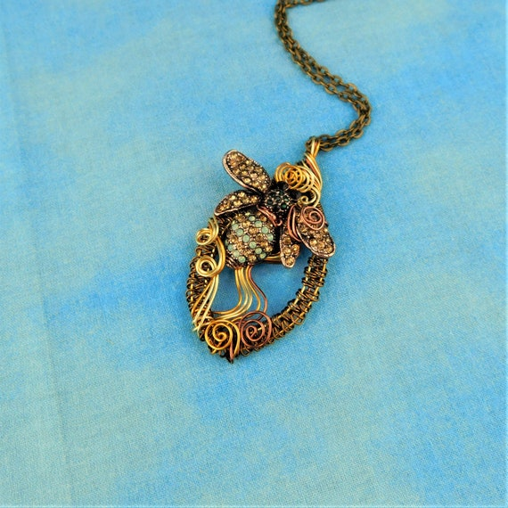 Artisan Crafted Bee Necklace, Unique Wire Wrapped Bumblebee Pendant, Handcrafted Honeybee Jewelry, One of a Kind Beekeeper Gift Idea for Her