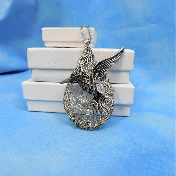 Hummingbird Necklace Artisan Crafted Unique Wire Wrapped Artistic Handmade Pendant Bird Theme Jewelry Anniversary Present Ideas for Women