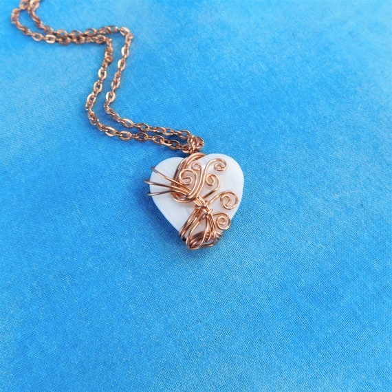 Artistic Wire Wrapped Mother of Pearl Heart Necklace, Artisan Crafted Copper Pendant Wearable Art Statement Jewelry for 7th Anniversary Gift