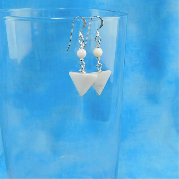 Small Natural White Mother of Pearl Geometric Earrings, Unique triangle Shaped Dangles, Wearable Art Jewelry Gift Ideas for Wife or Mom