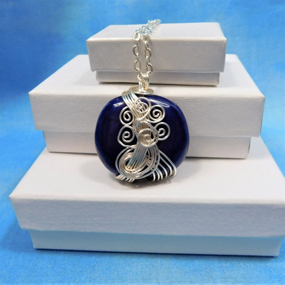 Blue Ceramic Pendant, Unique Wire Wrapped Necklace, Artisan Crafted Handmade Jewelry, One of a Kind Wearable Art, Present Ideas for Women