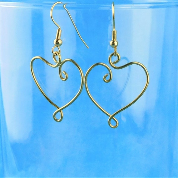 Heart Dangle Earrings, Sculpted Brass Wire Jewelry, Unique Handmade Wearable Art, Romantic Artisan Crafted Christmas Present Ideas for Women