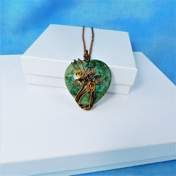 Large Wire Wrapped Gemstone Heart Pendant, Unique Artisan Crafted Green Stone Necklace, Handmade Wearable Art Jewelry Present for Women