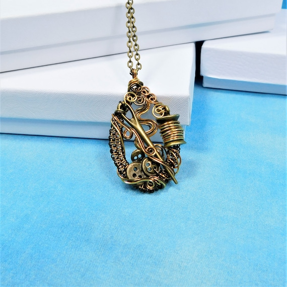 Artistic Sewing Theme Pendant, Unique Wire Wrapped Jewelry, Wearable Art for Seamstress, Artisan Crafted Necklace for Women who Sew