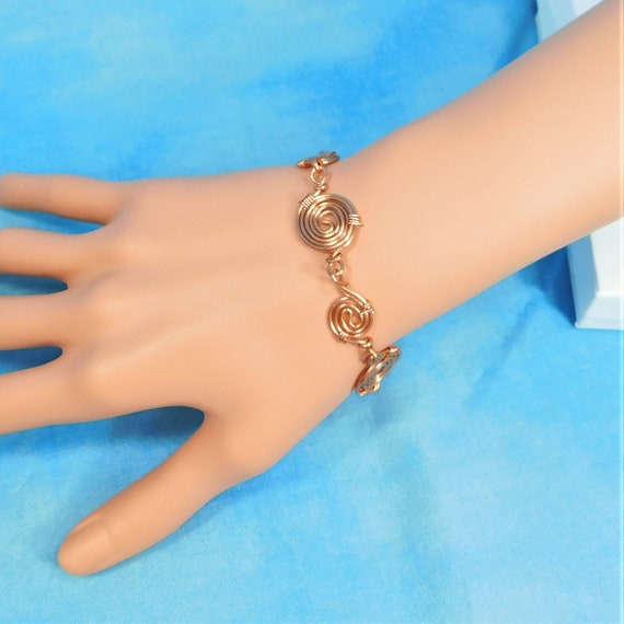 Bright Copper Wire Wrapped Bracelet, Artisan Crafted Sculpted Rose Gold Colored Wire Coil Bracelet Jewelry Mother's Day Gift for Wife or Mom