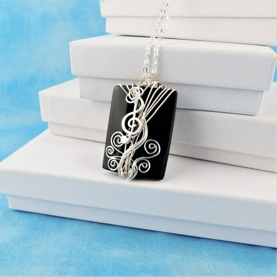 Treble Clef Necklace Black Onyx Pendant Gift for Musician Music Teacher Musical Staff Pendant Present Ideas for Women Mom Wife Girlfriend