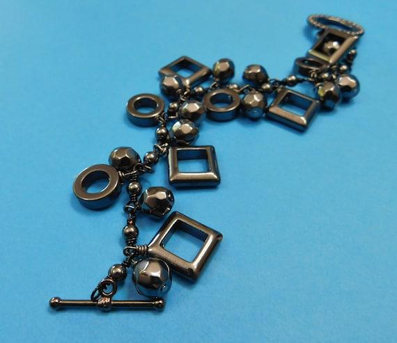 Hematite Bracelet Gemstone Jewelry Artisan Crafted Unique Wire Wrapped Chunky Geometric Black Stone Dangle Birthday Present Ideas for Women
