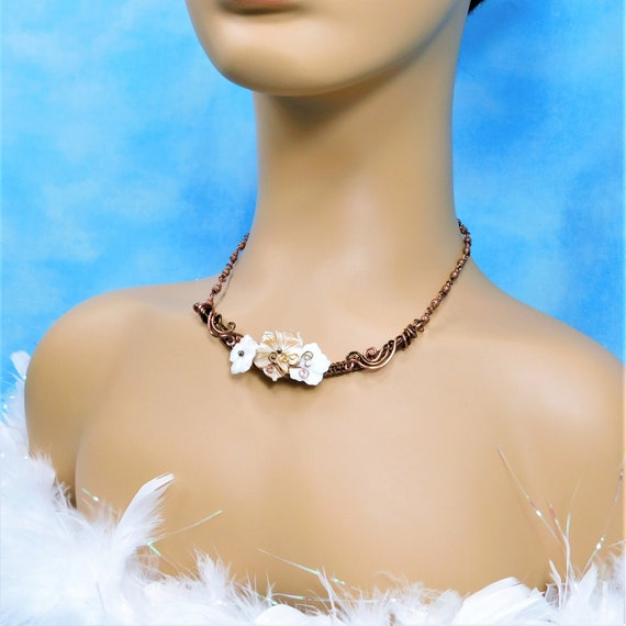 Woven and Sculpted Wire Mother of Pearl Shell Flower Necklace, Artistic Bohemian Floral Bib Necklace for Mom or Anniversary Gift for Wife