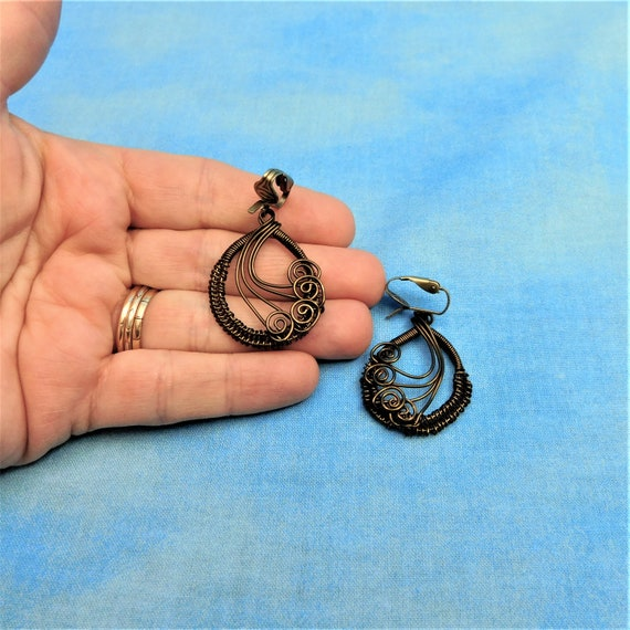 Unique Woven Wire Wrapped Non Pierced Clip on Dangle Earrings, Artisan Crafted Handmade Copper Wearable Art Jewelry Mother 's Day Gift Idea