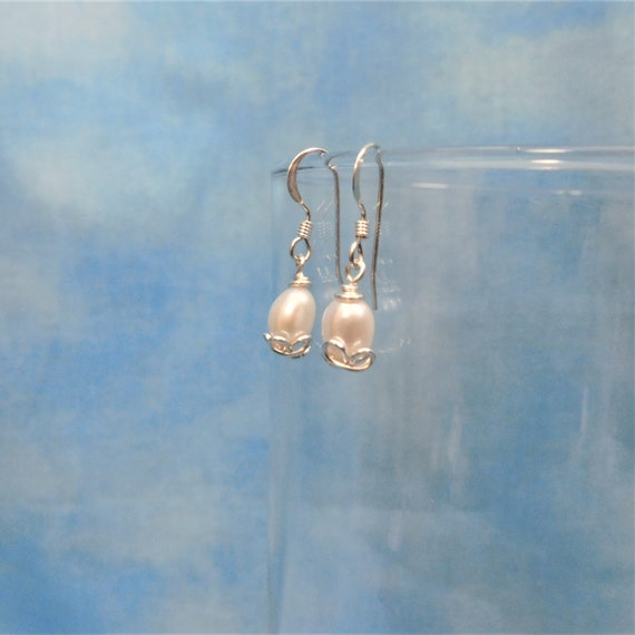 Natural White Freshwater Pearl Earrings, Artisan Crafted Pierced Dangles, June Birthstone Pearl Jewelry Birthday Present Ideas for Women