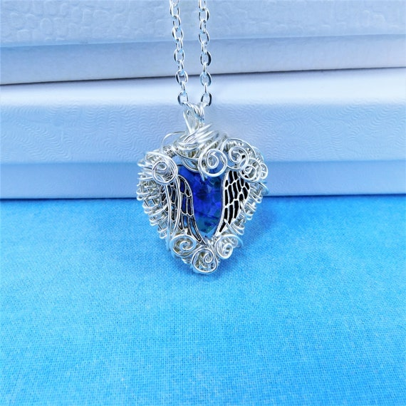 Artistic Angel Wings Necklace, Wire Wrapped Blue Swarovski Crystal Heart Pendant, Artisan Crafted Memorial Jewelry Present for Sympathy Gift