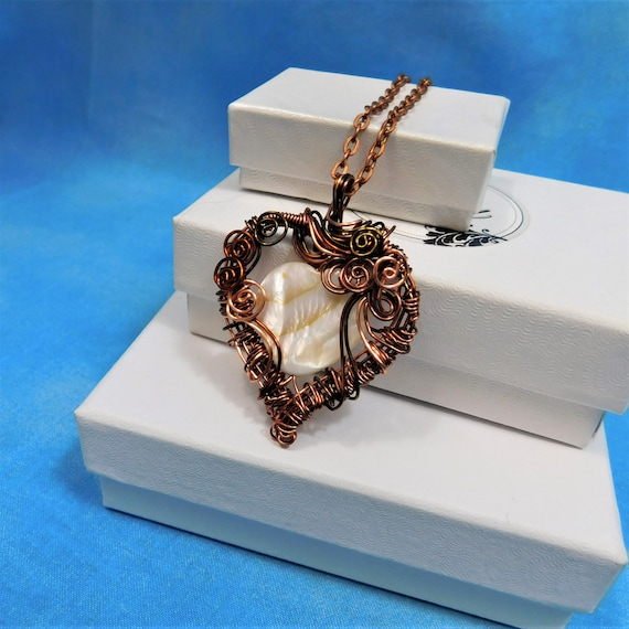 Artistic Woven Copper Heart Necklace, Artisan Crafted Wire Wrapped Mother of Pearl Pendant, 7th Anniversary Gift for Wife or Girlfriend