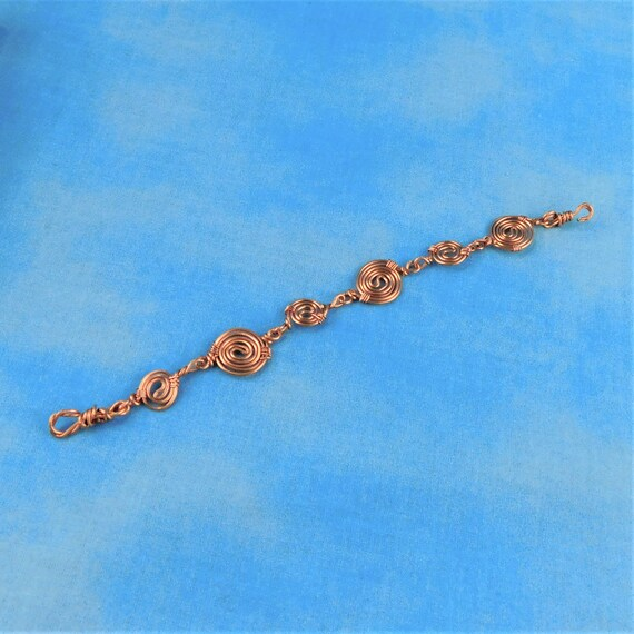 Unique Bright Copper Wire Wrapped Bracelet, Artisan Crafted Sculpted Coil Artistic Jewelry, Handmade Mother's Day Gift Ideas for Wife or Mom