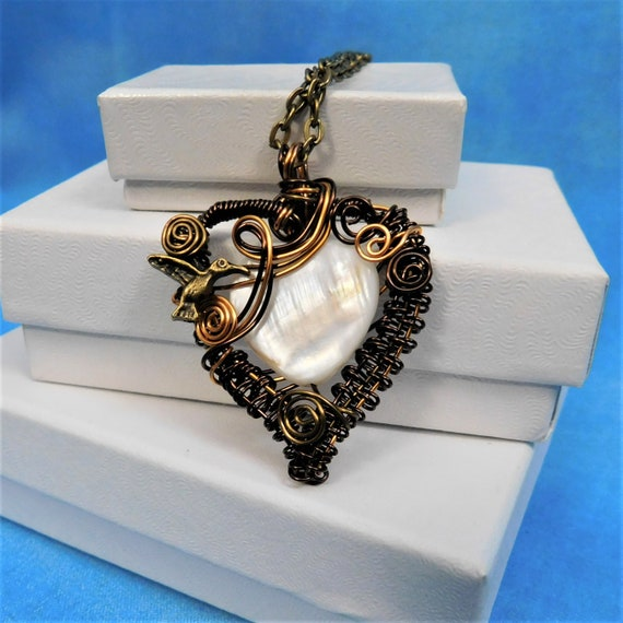 Artistic Hummingbird Jewelry, Unique Wire Wrapped Copper Heart Pendant, Artisan Crafted Handmade Wearable Art Necklace Present for Wife, Mom