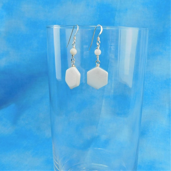 Natural White Mother of Pearl Earrings, Handmade Geometric Dangles, Wearable Art Jewelry for Birthday Gift Ideas for Wife, Mom or Girlfriend