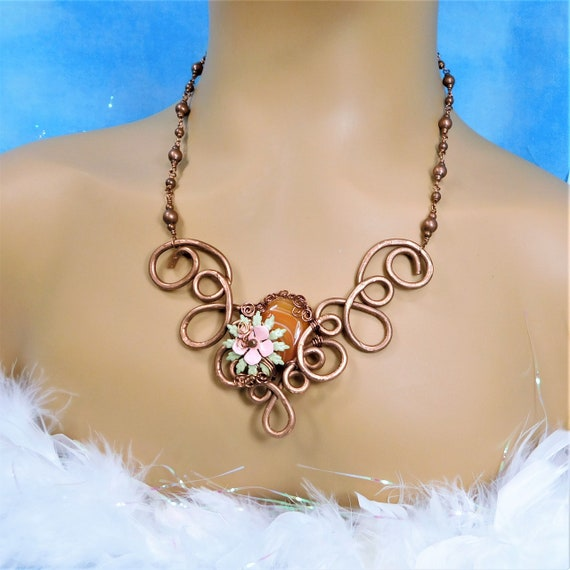 Unique Wire Wrapped Carnelian Necklace, Artisan Crafted Gemstone and Copper Statement Jewelry, One of a Kind Wearable Art Present for Her