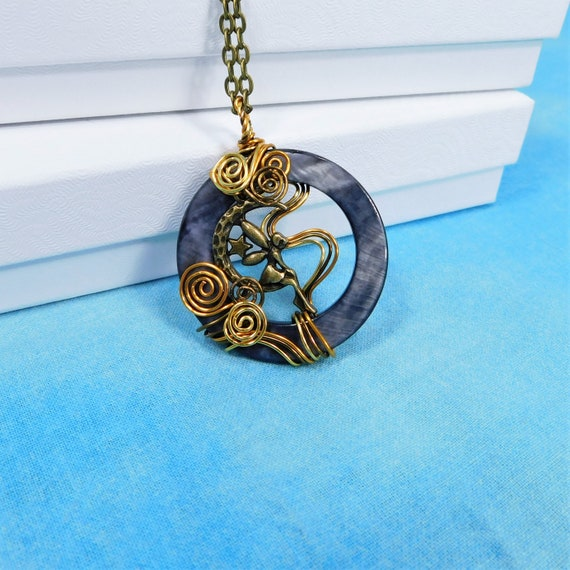Unique Wire Wrapped Fairy Necklace, Artisan Crafted Fairy Moon Pendant, Wearable Art Jewelry Birthday Present or Fantasy Theme Gift for Mom