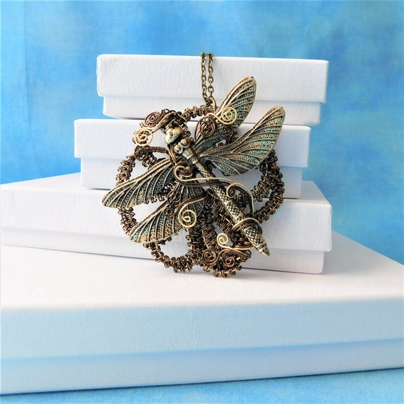 Dragonfly Necklace Artisan Crafted Statement Jewelry Unique Woven Wire Wrapped Pendant Artistic Handmade Birthday Present Ideas for Women