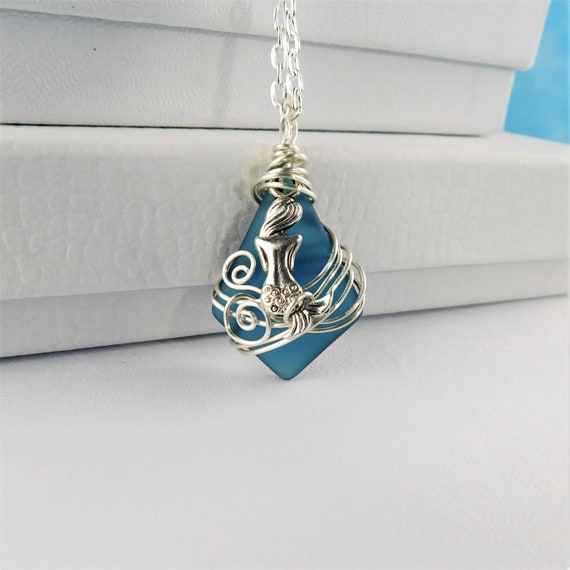 Mermaid Necklace, Beach Theme Blue Sea Glass Jewelry, Unique Wire Wrapped Artisan Crafted Wearable Art, Artistic Ocean Pendant Present Ideas