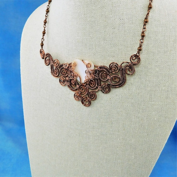 Woven Wire Scroll Work Bib Style Copper Statement Necklace in Rose Gold Color with Mother of Pearl Heart, 7th Anniversary Gift for Wife