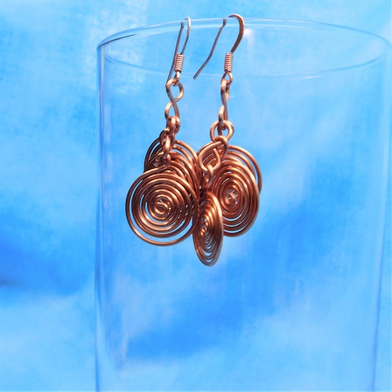 Round Natural Copper Earrings 7th Anniversary Gift, Ethnic Boho Wire Wrapped Artistic Jewelry, Handcrafted Spiral Coil Earrings Mother Gift