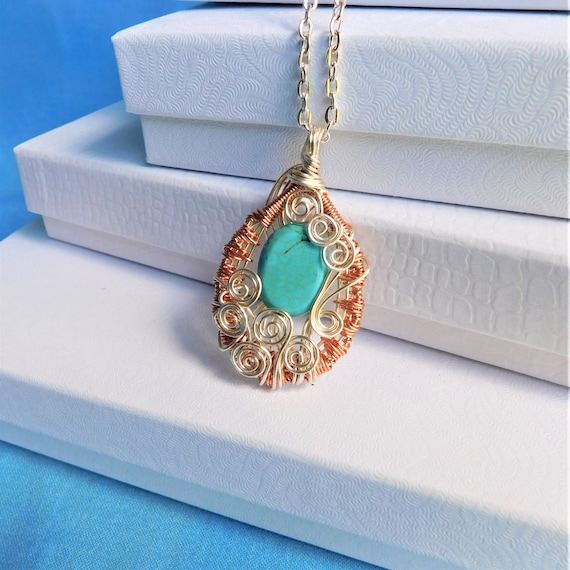 Copper Wire Wrapped Gemstone Necklace, Unique Artisan Crafted Turquoise Howlite Pendant, Handcrafted Artistic Jewelry 7th Anniversary Gift