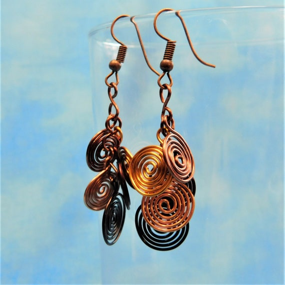 Rustic Copper Earrings, Unique Handmade Artisan Crafted Coil Cluster Dangles, Wire Wrapped Wearable Art Jewelry Gift for Wife, Mom or Sister