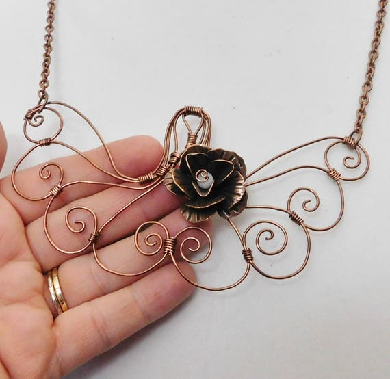 Unique Wire Wrapped Sculpted Copper Rose Statement Necklace, Artistic Handmade Flower Bib Wearable Art Jewelry, Romantic Present for Women