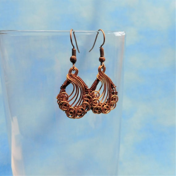 Rustic Copper Earrings, Unique Woven Wire Wrapped Artisan Crafted Handmade Artistic Jewelry Birthday, Anniversary Present Ideas for Women