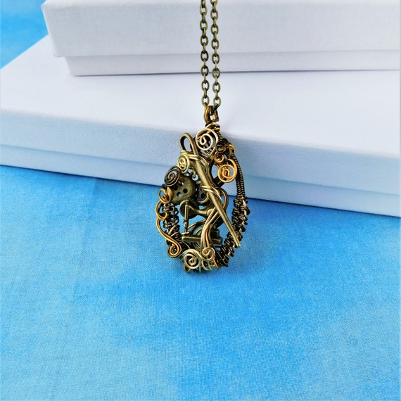 Artistic Sewing Machine Pendant, Unique Wire Wrapped Jewelry, Wearable Art for Seamstress, Artisan Crafted Necklace for Women who Sew